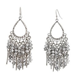 Erica Lyons Silvertone Teardrop Crystal Earrings