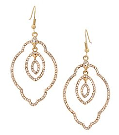 Erica Lyons Goldtone Filigree Crystal Drop Earrings