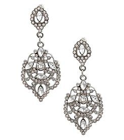 Erica Lyons Silvertone Filigree Crystal Earrings
