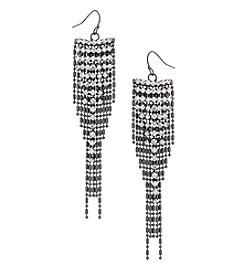 Erica Lyons Hematite Drop Crystal Earrings