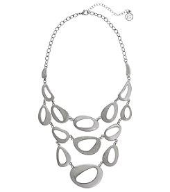 Erica Lyons Silvertone 3 Row Necklace