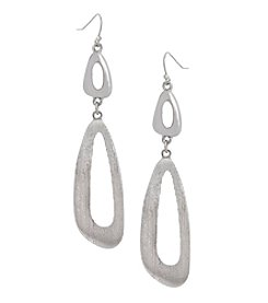 Erica Lyons Silvertone Long Double Drop Earrings