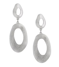 Erica Lyons Silvertone Double Drop Post Earrings