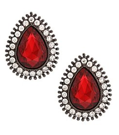 Erica Lyons Hematite Red Clip Teardrop Post Earrings