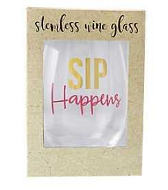 Erica Lyons Sip Happens Stemless Wine Glass