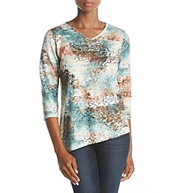 Alfred Dunner Embellished Printed Top