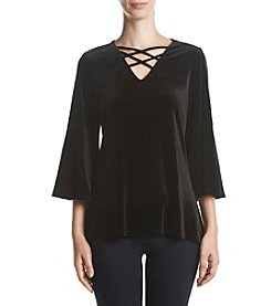 Relativity Lace-Up Velvet Top