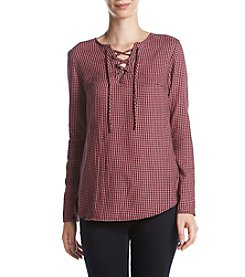 Ruff Hewn Lace Up Flannel Top