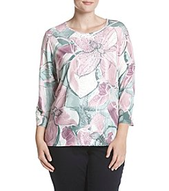 Alfred Dunner Plus Size Exploded Floral Top