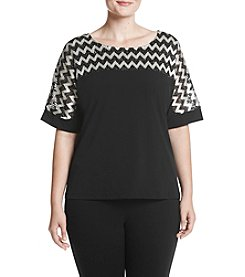 Alfred Dunner Plus Size Zig Zag Sparkle Top