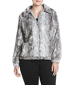 Alfred Dunner Plus Size Silver Faux Fur Jacket