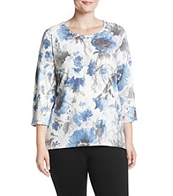 Alfred Dunner Plus Size Watercolor Floral Top