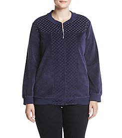 Alfred Dunner Plus Size Stud Detail Velour Jacket