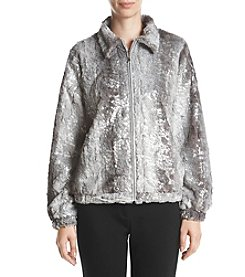 Alfred Dunner Petites' Silver Faux Fur Jacket