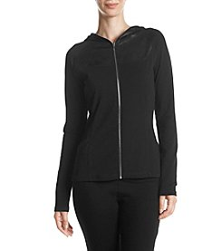 Ivanka Trump Zip Front Textured Detail Jacket