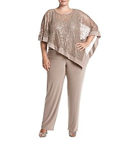 R&M Richards Plus Size Poncho Pants Set