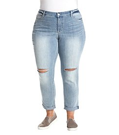 Ruff Hewn Plus Size Distressed Detail Rolled Cuffs Skinny Jeans