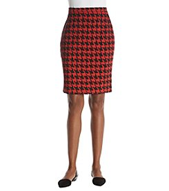 Kasper Houndstooth Pencil Skirt