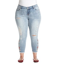 Celebrity Pink Plus Size Floral Embroidery Ankle Jeans