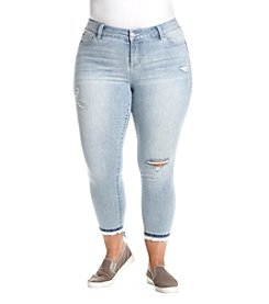 Celebrity Pink Plus Size Embroidered Border Destructed Ankle Jeans