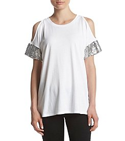 MICHAEL Michael Kors White Sequin Cuff Coldshoulder Tee