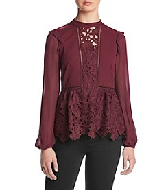 Kensie Lace Trim Ruffle Top