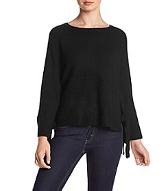 Kensie Mix Fabric Tie Sleeve Sweater