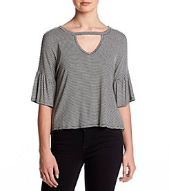 Eyeshadow Peplum Sleeve Stripped  Knit Top