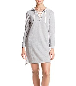 no comment Lace Up Hoodie Dress
