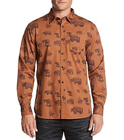Ruff Hewn Men's Long Sleeve Bear Print Flannel Button Down