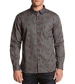 Ruff Hewn Men's Long Sleeve Moose Print Flannel Button Down