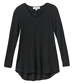 no comment Girls' 7-16 Long Sleeve Strappy V-Neck Tunic