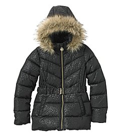 MICHAEL Michael Kors Girls' 7-14 Leopard Belted Puffer Jacket