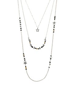 Ruff Hewn Silvertone Triple Row Star Necklace