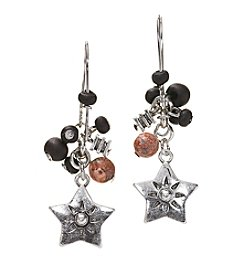 Ruff Hewn Silvertone Pierced Ear Star Earrings