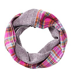 V. Fraas Plaid Chevron Loop Scarf