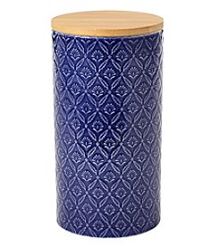 Pfaltzgraff Large Blue Embossed Canister