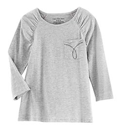 Calvin Klein Girls' 7-16 Long Sleeve Pocket Tee