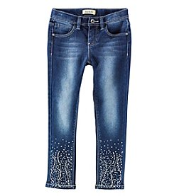 Squeeze Girls' 4-6X Rhinestone Bottom Skinny Jeans