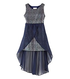 Rare Editions Girls' 7-16 Metallic Mesh Dress