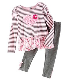 Nannette Girls' 2T-6X 2 Piece Stripe Heart Top And Leggings Set