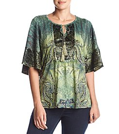 Oneworld Peasant Velvet Trim Top