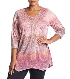 Oneworld Plus Size Abstract Pattern Scoop Neck Top