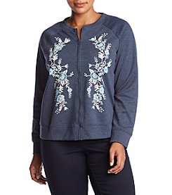 Oneworld Plus Size Embroidered Bomber Jacket