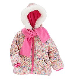 London Fog® Girls' 4-6X Paisley Puffer Jacket And Scarf Set