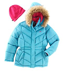 Weatherproof® Girls' 7-16 Puffer Jacket With Hood And Hat