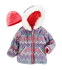 London Fog® Girls' 2T-4T Chevron Heart Puffer Jacket And Hat Set