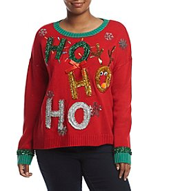 Love Always Plus Size Tinsel Ho Ho Ho Sweater