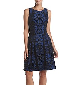 Gabby Skye Jacquard Print Fit And Flare Dress