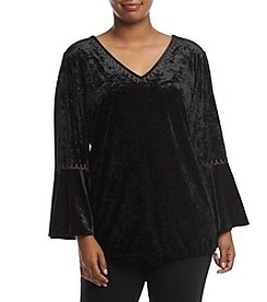 Adiva Plus Size Velvet V Neck Top